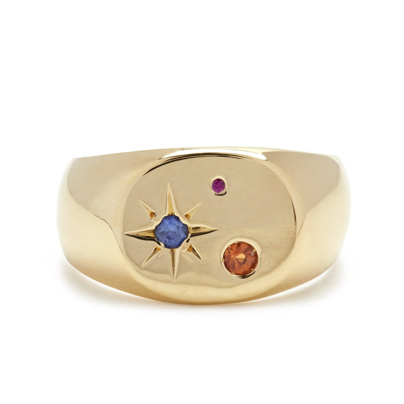 Seal Signet Ring with Mixed Stones in Gold Vermeil