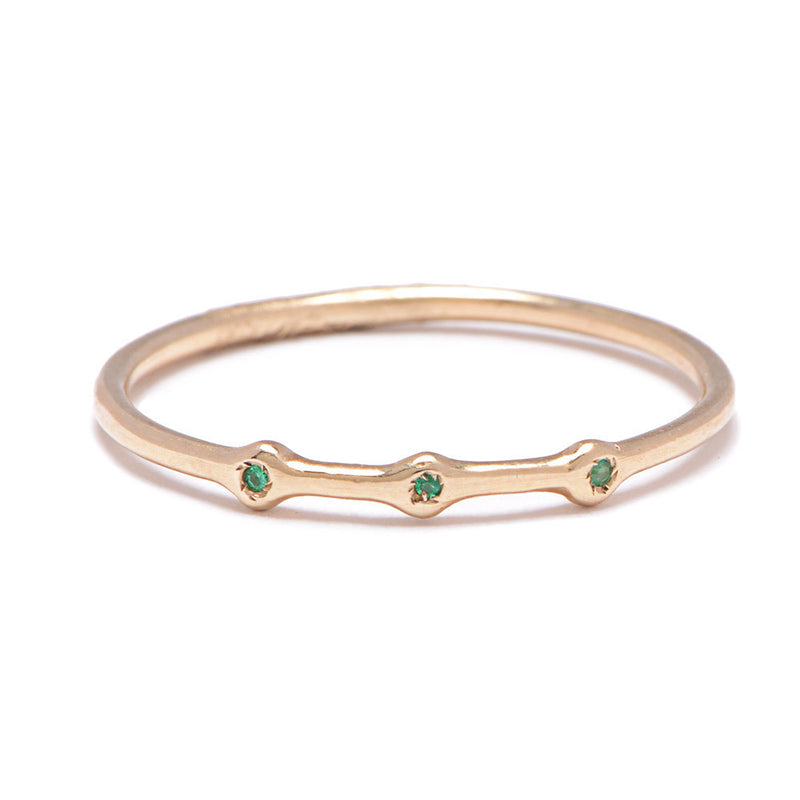 Trio Ring in Gold with Emeralds