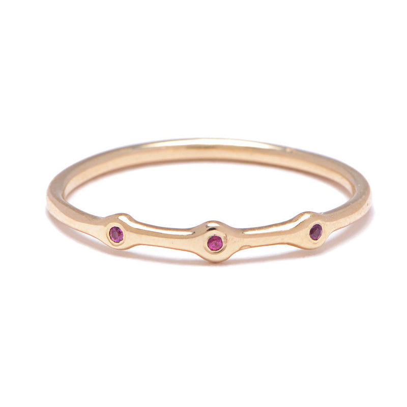 Trio Ring in Gold with Rubies