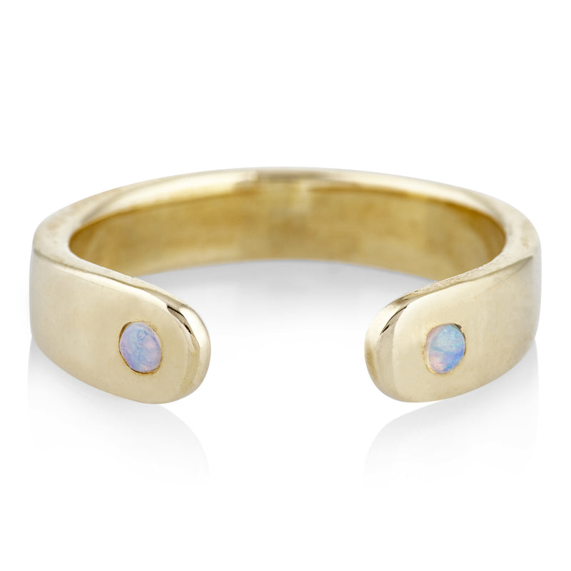 Open Ring in Brass and Opal