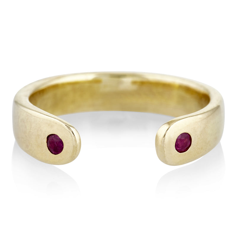 Open Ring in Brass and Ruby