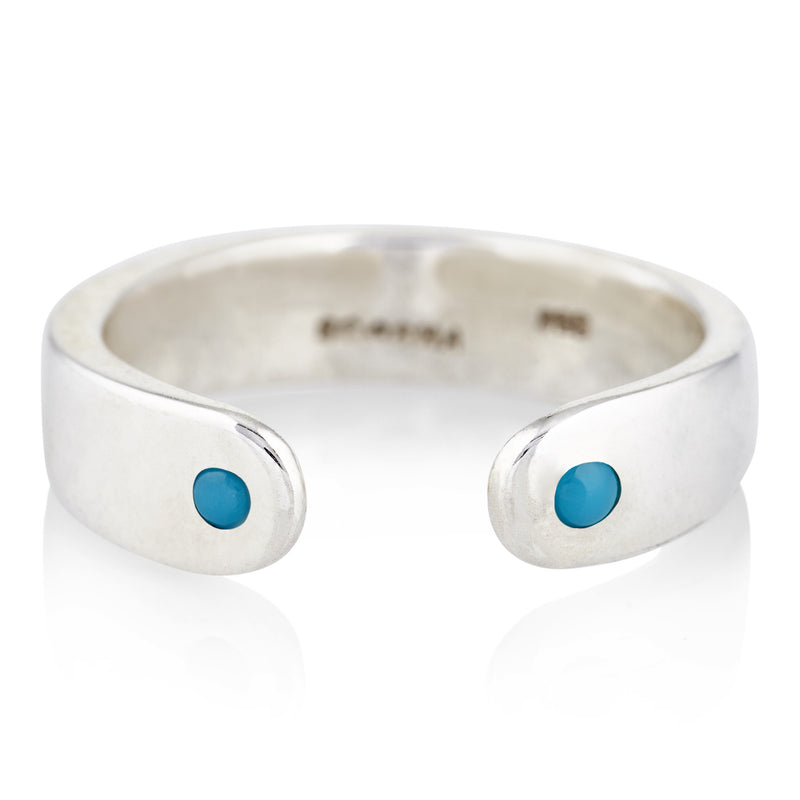 Open Ring in Silver and Turquoise