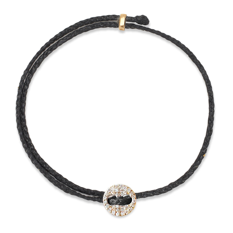 Adjustable Signature Bracelet in Black with Diamonds