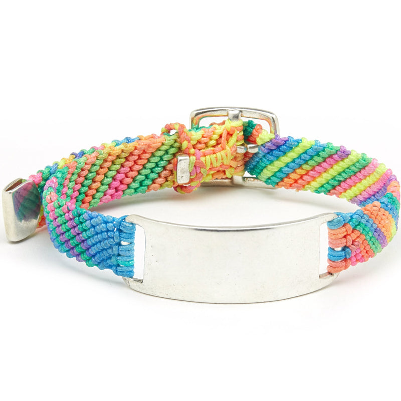 Belt ID Bracelet in Silver and Rainbow