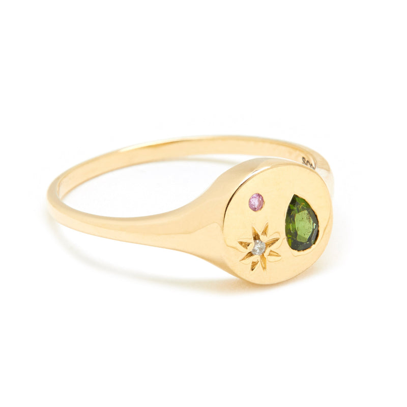 Night Market Mini Signet Ring in Gold