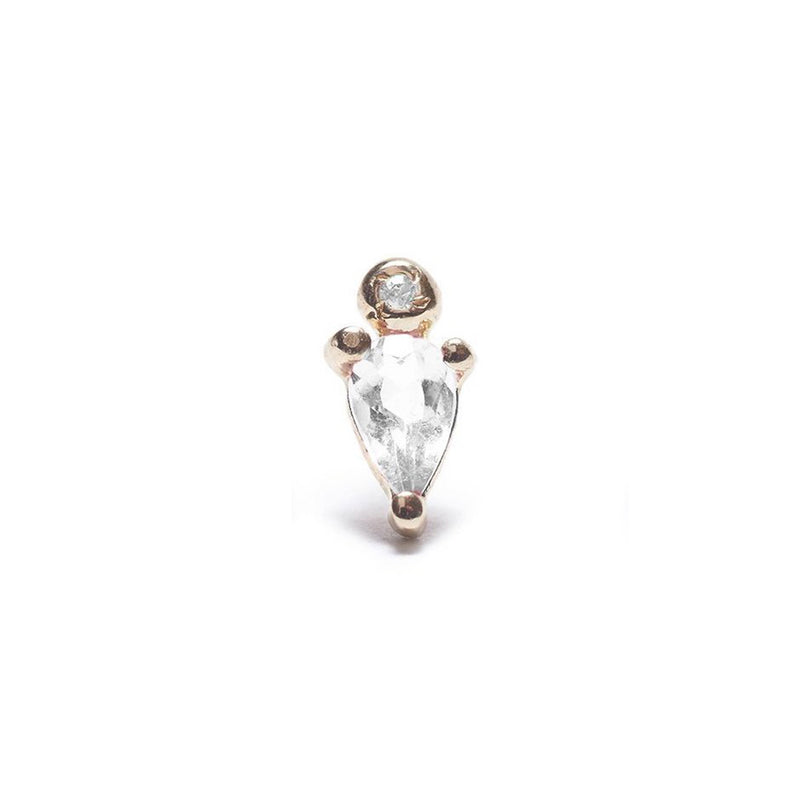 Droplet Stud with White Sapphire and Diamond