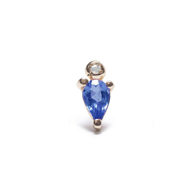Droplet Stud with Blue Sapphire and Diamond