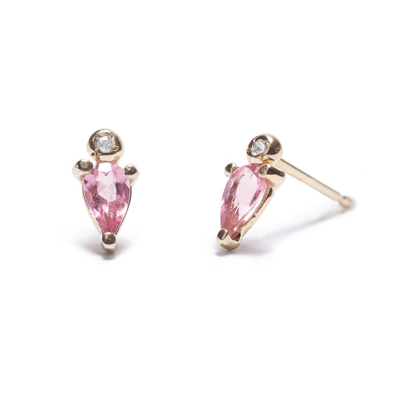 Droplet Stud with Pink Tourmaline and Diamond