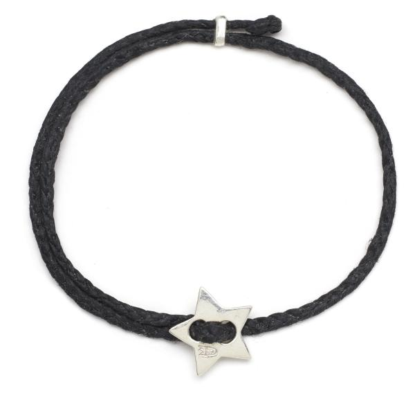 Friendship Star Slider Braid in Silver and Black