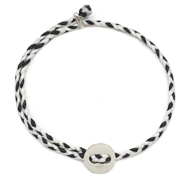 Signature 4mm Bracelet, Silver in White and Black