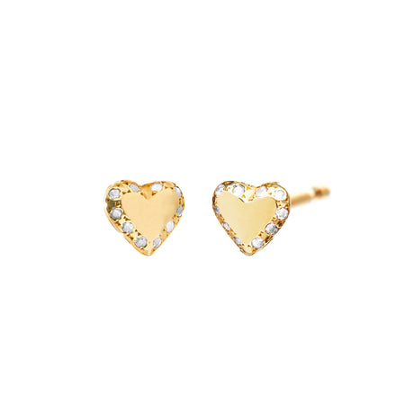Pave Heart Studs with Diamond