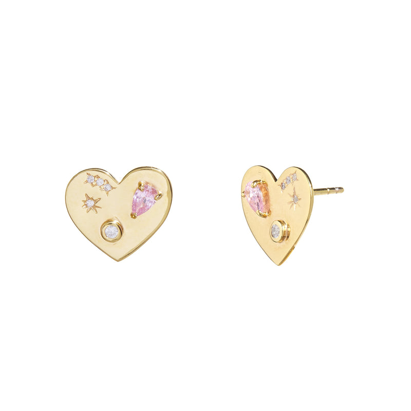 Night Market Heart Studs in Pink