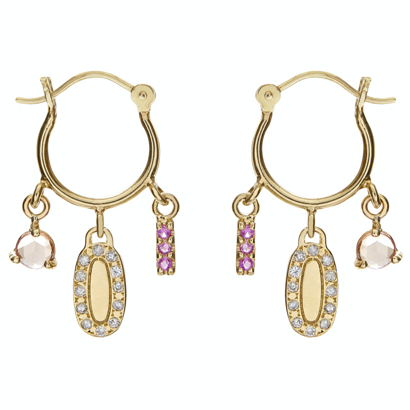 DIAMOND AND PINK SAPPHIRE CHARM HOOPS
