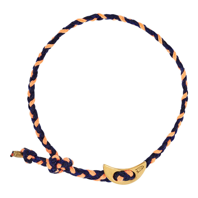 Signature 4mm Bracelet, Gold Moon in Indigo and Peach