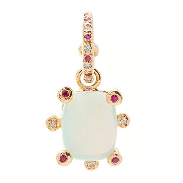 Opal Genie Charm on Ruby Alternating Hoop