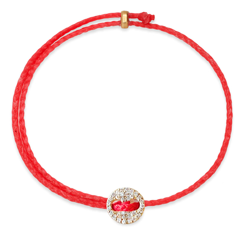 Adjustable Signature Bracelet in Fire Red with Diamonds
