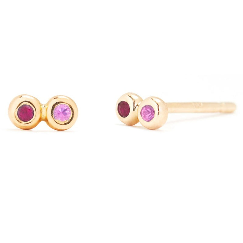 Tiny Infinity Stud with Ruby and Pink Sapphire