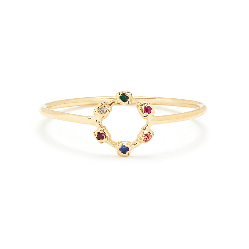 Hugging Wheel Ring in Gold with Mixed Stones