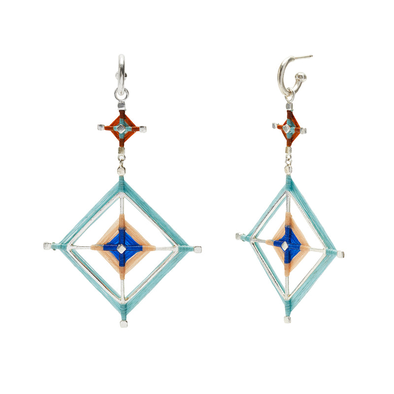 Double God's Eye Earring in Light Blue
