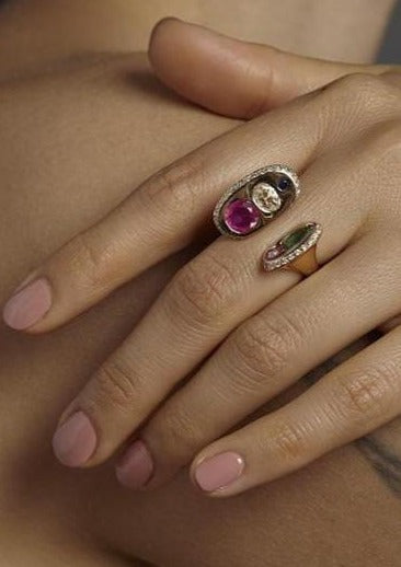Audre Ring with Rubellite and Mixed Stones