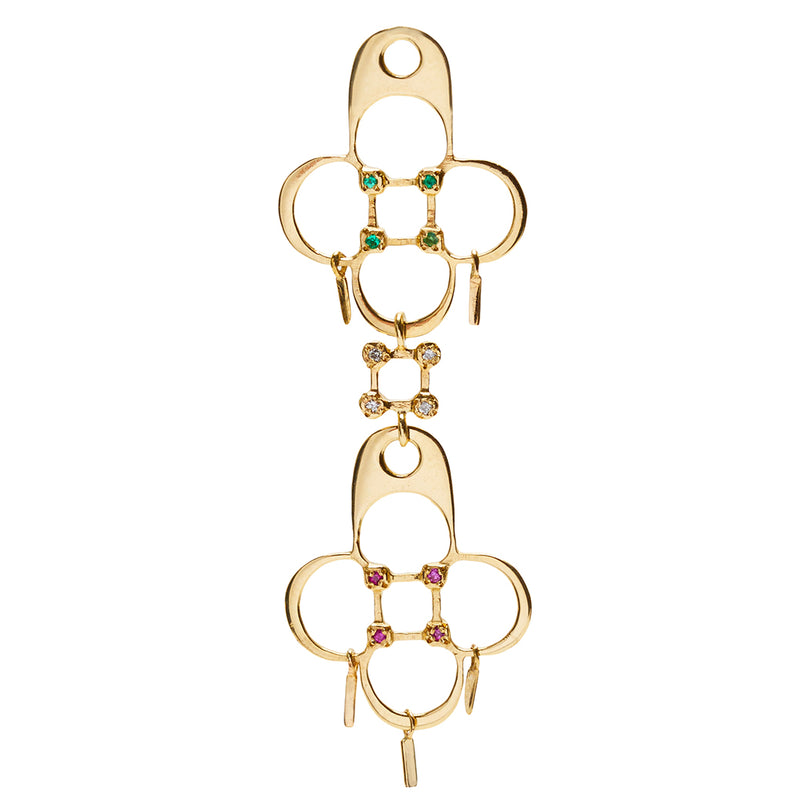 Double Shrine Earring Charm in Gold with Mixed Stones