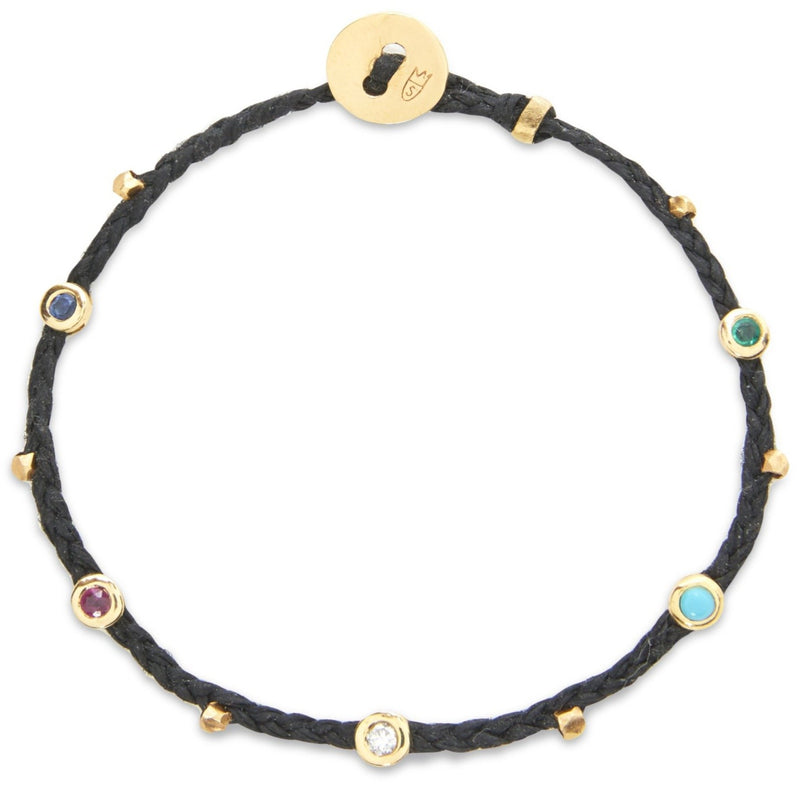 Bezel Charms Bracelet with Mixed Stones in Black