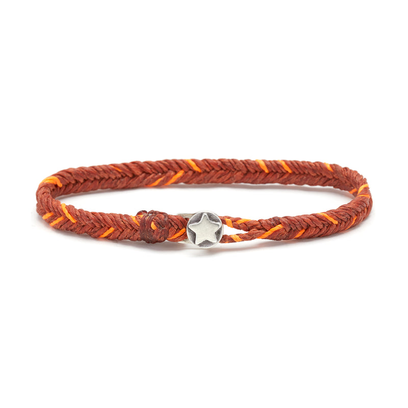 Classic Fishtail Star Button Bracelet in Rust and Neon Orange Fleck