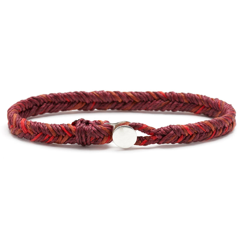 Classic Fishtail Button Bracelet in Plum, Scarlet, and Rust Fleck