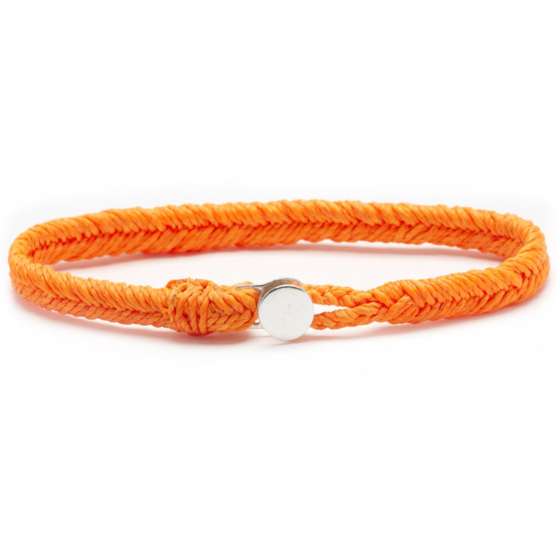Classic Fishtail Button Bracelet in Neon Orange