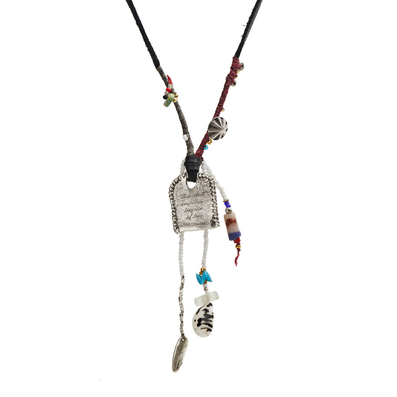 Leather Cord Charms Necklace with Silver Tag