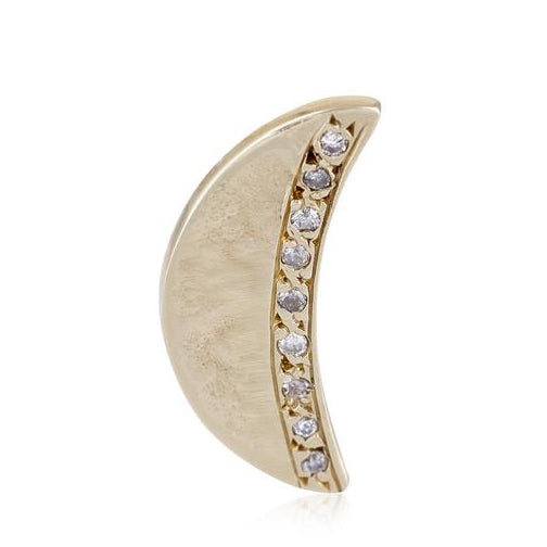 Half Moon Stud in Gold with Pavé Diamonds