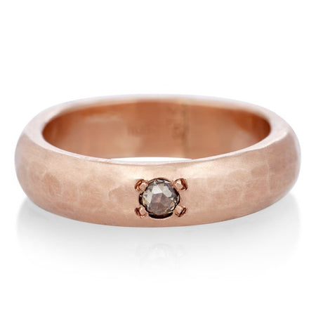 5MM ROSE GOLD RING WITH BROWN DIAMOND