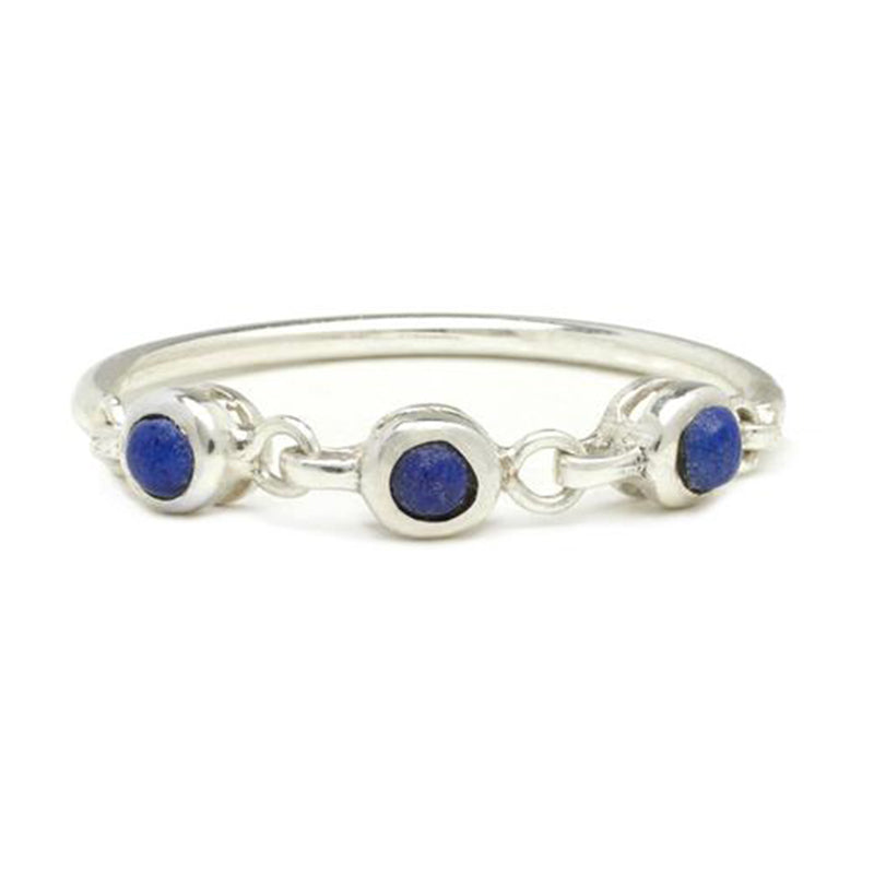 TRIO BEZEL BAND IN SILVER & LAPIS
