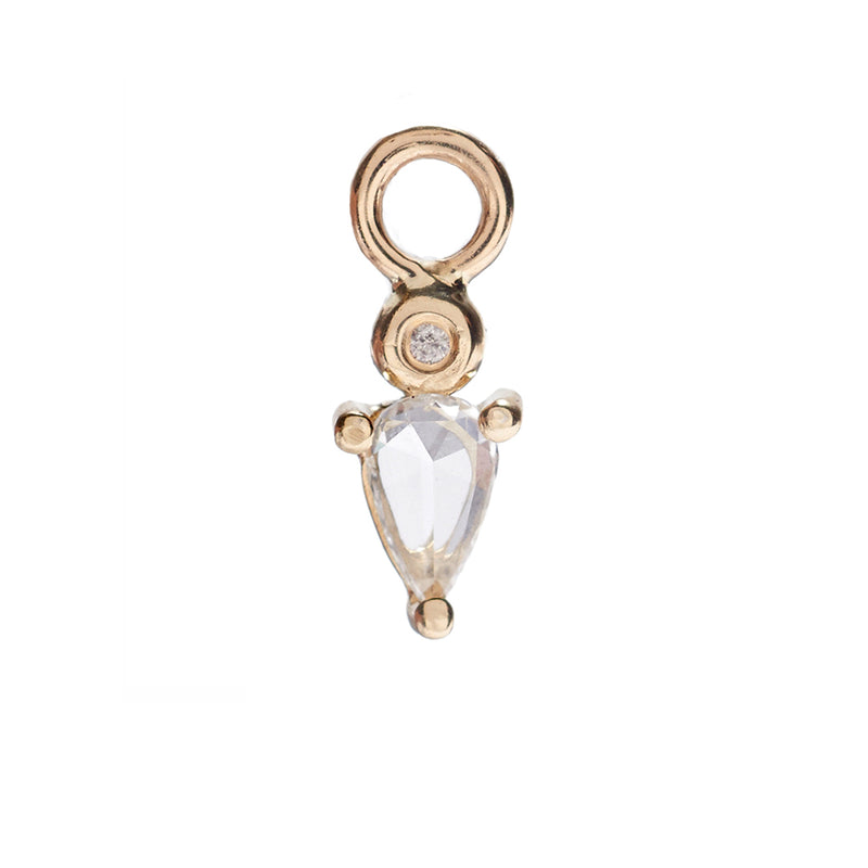 Droplet Charm with White Sapphire and Diamond