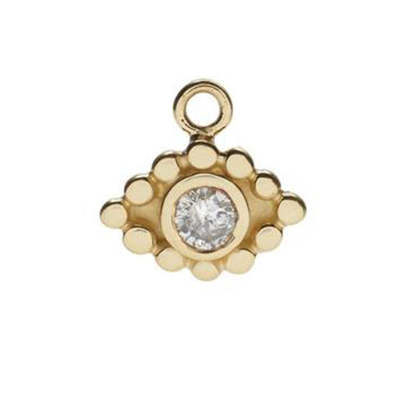 Evil Eye Charm in Gold with Diamond