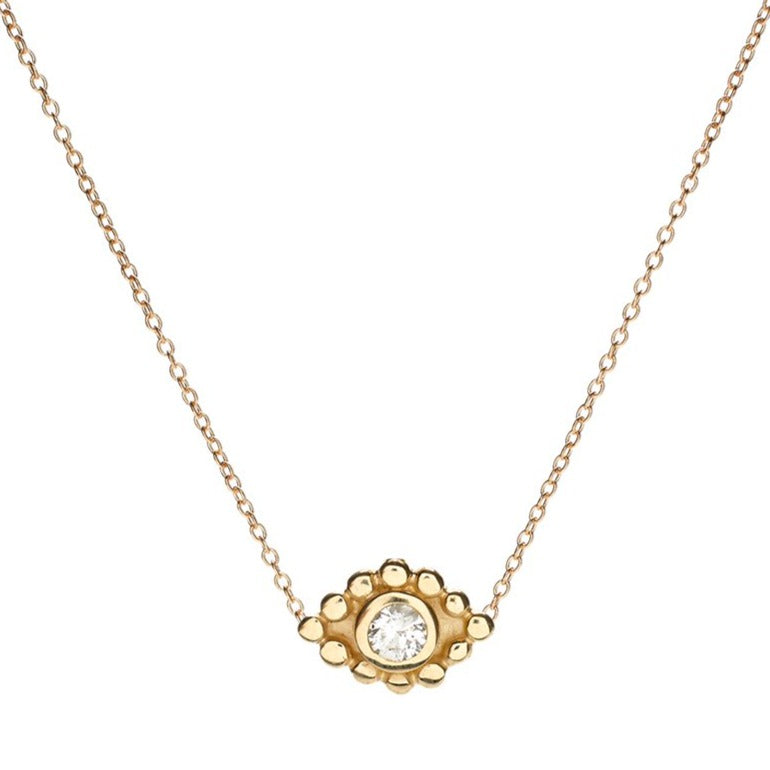 Evil Eye Pendant Necklace in Gold with Diamond