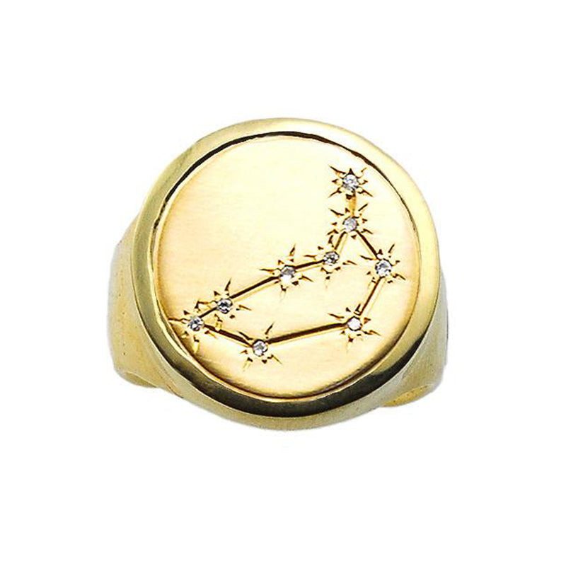 Zodiac Ring, 14k Gold and Diamond