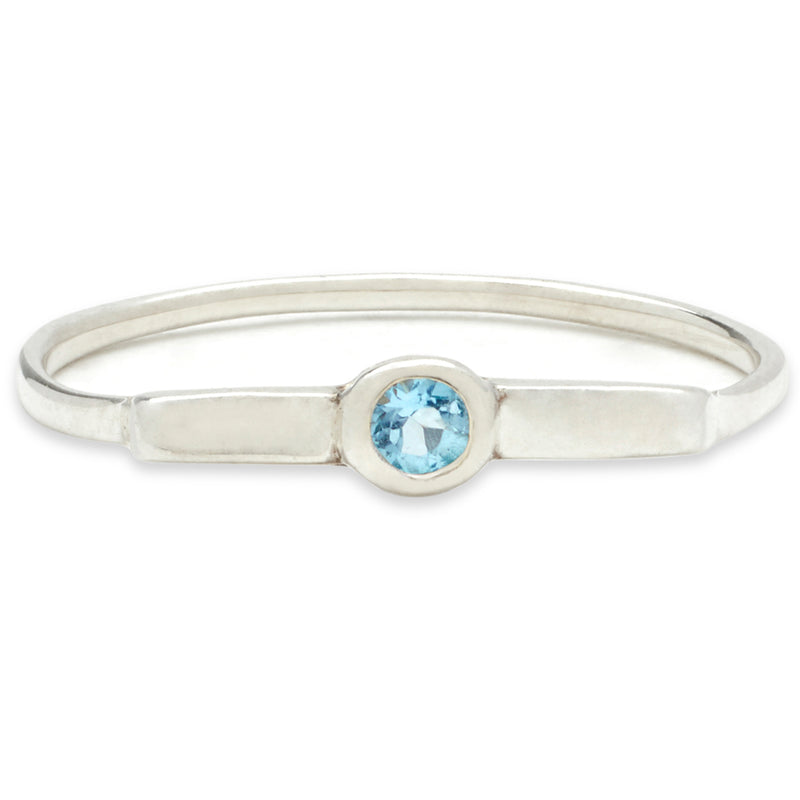 Wish Band in Silver with Aquamarine