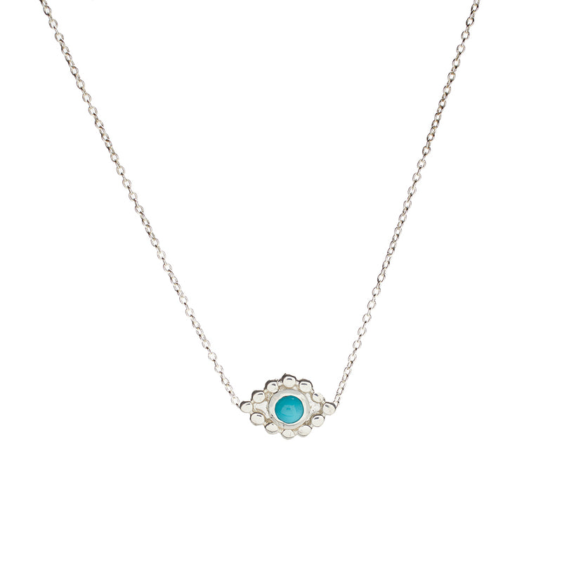 Evil Eye Pendant Necklace in Silver with Turquoise