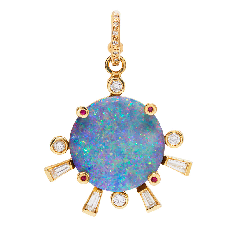 Diamond Hoop and Opal Sunset Charm with Diamonds & Rubies