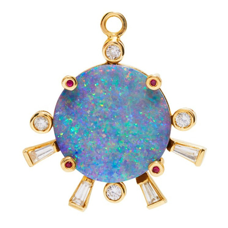 Opal Sunset Charm with Rubies
