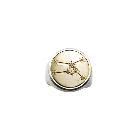 Zodiac Ring, Gold and Silver with Diamond
