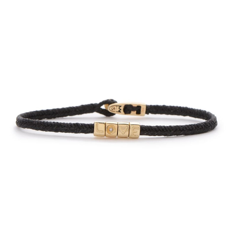 L O V E Beads Totem Bracelet in Black and Gold
