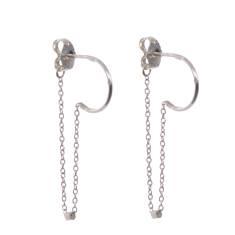 Half Hoop Chain Earrings in Silver