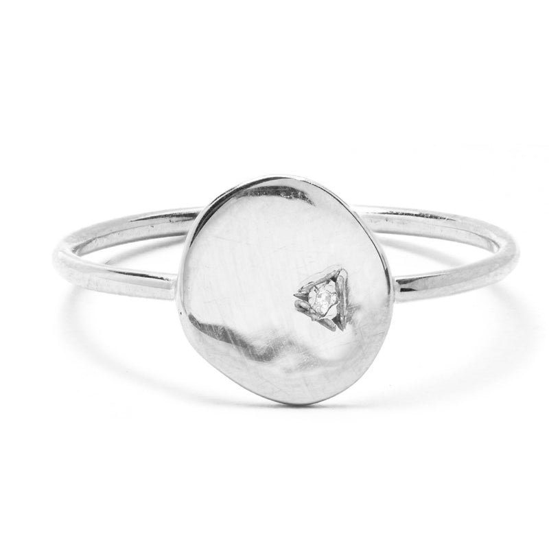 Diamond Coin Signet Ring