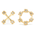 XO Studs in Gold with Diamonds