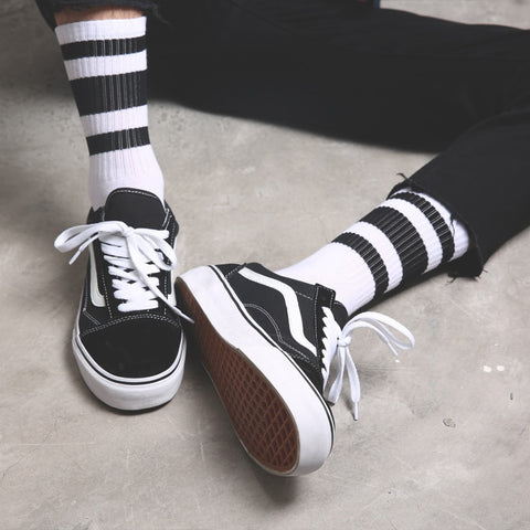 Men cotton stockings black and white stripes comfortable winter warmth - Jason Christopher Store