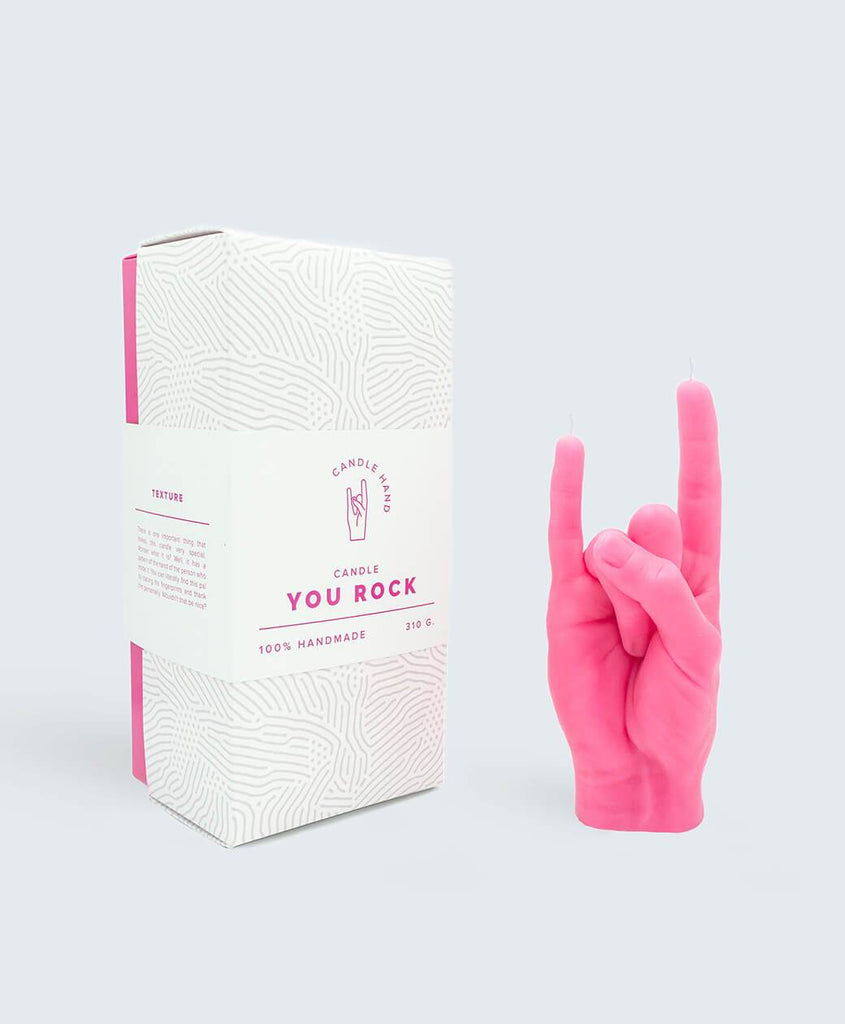 You Rock Candle Hand (Pink)