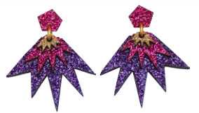 Bang Bang Drop Stud Earrings - Purple, Magenta & Gold