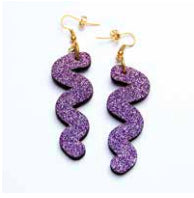 Squiggle Hook Glitter Earrings - Lavender Jewellery - Earrings Kam Creates for We Built This City 4
